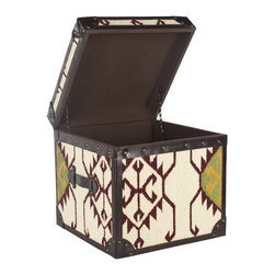 Safavieh - Safavieh Nomer Nomad Box X-A0056SCA - The primitive patterns of ethnic nomadic cultures are recalled in Modern Nomad, a versatile steamer trunk end table that opens for extra storage. Artfully crafted, the kilim-style jute covering is rustic and natural, enhanced with dark brown leather trim and finished with brass nailheads.