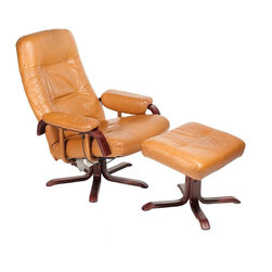 Unknown - Consigned Mid Century Danish Modern Leather Reclining Chair w/ Ottoman - • Mid Century Danish Modern
