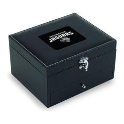 """Picnic Time - Jacksonville Jaguars Cabernet Eight-Piece Box Set Of Wine Accessories in Black - The Cabernet is an eight-piece box set of wine accessories that is a welcome addition to anyone's wine bar. It includes 1 lever-style cork-pull, 2 bottle stoppers, 1 drip ring, 1 foil cutter, 1 pourer/stopper, 1 wine thermometer, and 1 extra cork-pull. The box measures 8-11/16"""" x 7-3/16"""" x 4-7/8"""" and is made of black premium leatherette with white accent stitching. The Cabernet makes a thoughtful gift for your wine-loving friends.; Decoration: Engraved; Includes: 1 lever-style cork-pull, 2 bottle stoppers, 1 drip ring, 1 foil cutter, 1 pourer/stopper, 1 wine thermometer, and 1 extra cork-pull"""