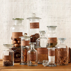 Botany Apothecary Jars - Set of 9 - Antiqued labels bring the romantic fascination of the age-old apothecary to your home.  The Botany Apothecary Jars is a set of nine clear glass bottles � useful in the bath, the kitchen, and any part of your d�cor � including three each of a standard, a wide-necked, and a cylindrical design.  Compose a vintage-inspired statement with this striking set.