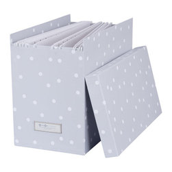 """Bigso Box - Bigso John Desktop File Box, Grey Dots - YooHoo Lovies, meeting your organizational needs AND  your style needs for your space is easy with Bigso boxes and desk accessories. Bigso Box paper laminate products are super-strong, acid free recycled fiberboard.  The John desktop file box holds hanging file folders to keep your file folders organized. The box top comes off. The width of the box is 7 inches, so the size of the files determines how many hanging folders will fit. The silver metal label holder is on the width side. Line up two, three or more in same or different colors, to take your office from mundane to marvelous. Hanging files and cute file folders sold separately. Mix and match with all the Bigso box collection to fit your office organization needs. 13""""L x  7""""W x 10.2""""H"""