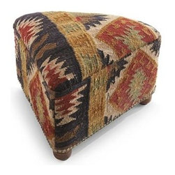 Doruk Kilim Triangle Footstool - I've only recently discovered Grandin Road, and what a fun store! I love this ottoman upholstered in a cool kilim.