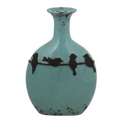 Ceramic Vase - SKU: EN30439 - Ceramic Vase color light blue decorated with FOUR birds standing in a string.