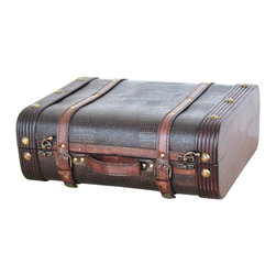 Wood Leather Suitcase - Decorative suitecase trunk that is great for storage and decoration Great Tressure Box Leather suitcase trunk Old Fashioned hardware adds to antique look Decorated with leather in the center of the suitecase to give this antique looking effect� Our warm and welcoming steamer trunk brings back days of old time. Remember how excited you are when you were a little kid to look into your grandma's old chest, our decorative trunks will bring back those memories and help you create some new ones too. Our hope chest boxes are all handcrafted and tailored to enhance the existing decor of any room in the home. Great to use for your very own treasure chest!