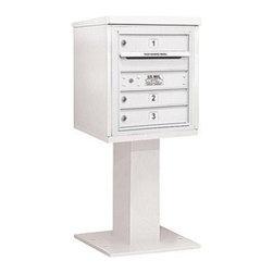 Salsbury Industries - 4C Pedestal Mailbox - 5 Door High Unit (48-1/8 Inches) - Single Column - 3 MB1 D - 4C Pedestal Mailbox (Includes 26 Inch High Pedestal and Master Commercial Lock) - 5 Door High Unit (48-1/8 Inches) - Single Column - 3 MB1 Doors - White
