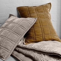 Eileen Fisher - Eileen Fisher Hand-Stitched Velvet Quilt - Double/Queen - Toffee - This Eileen Fisher quilt features the luxuriously cozy, irresistibly plush touch of velvet, hand-quilted and backed in soft cotton sateen. Block stitching adds geometric interest and lofts the quilt's fill. Velvet binding and mitered corners. Sham is quilted on the front and has a cotton sateen back with sateen-covered buttons. Poly fill. By Eileen Fisher Home Exclusively by Garnet Hill.