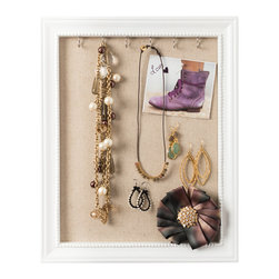 Hives & Honey - Hives & Honey Jewelry Frame and Pin Board - With a stunning, glossy white finish and gorgeous, classic design, this unique frame is a great addition to any modern woman's home. Featuring convenient necklace hooks, a back-side kick stand, and an easy-to-mount frame, this piece is perfect for storing your most treasured possessions. Use it to keep your necklaces organized and untangled, utilize the convenient linen lined pin board to store your sparkling studs and dangling earrings, or simply put your baubles and statement necklaces on display for all to see.