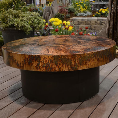 Fire Pits - Great for Fall and Winter - The Athena Round Fire Pit Table by R & R Living is durably made with recycled steel construction and a cutting-edge Armor finish. Each Athena table is completely hand finished in one of your choice of 12 different organically-inspired finishes to create a stunning focal point for your patio or outdoor deck.