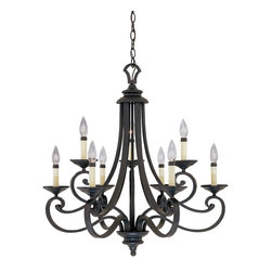 Designers Fountain - Designers Fountain Barcelona 2 Tier Chandelier in Natural Iron - Shown in picture: Messina Chandelier in Natural Iron finish