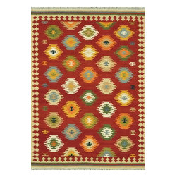 Loloi Rugs - Loloi Rugs Isara Red-Multi Traditional Hand Knotted Rug X-6563LMER30-AIRASI - The Isara Collection finds inspiration from antique Turkish and Persian kilims, updating the vintage looks for today. These reversible tribal and Southwestern looks maintain an antique, worn appearance, thanks to a meticulous coloring process. Made in India of 100% wool, Isara is a new classic for today.