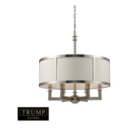 Elk Lighting - 23 5 Height 6 Light 1 Tier Chandelier With A Drum Shade - From the Trump Central Park collection, Brighton displays fine workmanship throughout with its seamlessly crafted L-shaped arms, solid metal turnings, and a satin nickel finish. was founded in Eastern Pennsylvania in 1983 by three industry experts, Adolf Ebenstein, Jonathan Lesko, and Russell King. Since the company's inception, a commitment has been made to deliver innovative, quality product with designer appeal and conscientious value.