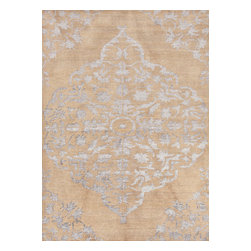 Jaipur Rugs - Hand-Knotted Tone-on-Tone Pattern Wool/ Art Silk Taupe/Gray Area Rug ( 8x11 ) - The Heritage collection is a beautiful casual hand knotted range of rugs with a soft wool ground and art silk motifs. Each piece is skillfully overdyed to create a vintage look and give surface interest. The rugs are uber soft with a sense of antiquity and luxury.