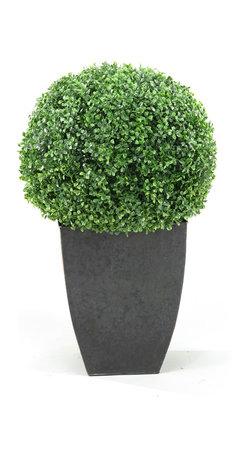 D&W Silks - D&W Silks Boxwood Ball In Square Planter - Boxwood Ball Topiary
