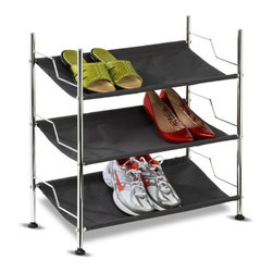 3-Tier Canvas Shoe Rack - Honey-Can-Do SHO-01818 3-Shelf Chrome Frame Canvas Shoe Rack, Charcoal.  The contemporary design of this 3-tiered shoe rack is perfect for hallways, bedrooms, and closets. Sturdy,  canvas fabric shelves protect your shoe collection from scuffs and scrapes while the unique design displays them with style. The chrome plated, steel construction holds up to 9 pair of shoes with ease.