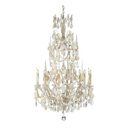 """Foyer - 64"""" H x 37"""" W, 8' chain included. Natural shells and crystals make this the perfect chandelier for any high ceiling in a beachy home."""