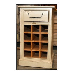 British Traditions - Mini Wine Rack Square End Table w Drawer (Charcoal) - Finish: Charcoal. Each finish is hand painted and actual finish color may differ from those show for this product. Square end table. 1 Drawer. 12-Bottle wine rack. Minimal assembly required. 17.5 in. W x 17.5 in. D x 30 in. H (94 lbs.)Similar in style and construction to our Swindon File Cabinet, this piece has one drawer above an open 12-bottle wine rack. It's suitable for any room where space is a consideration.