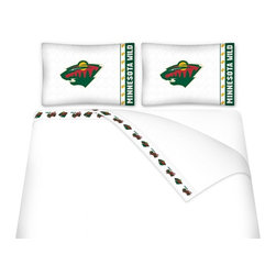Sports Coverage - Sports Coverage NHL Minnesota Wild Microfiber Hem Sheet Set - Twin - NHL Minnesota Wild Microfiber Hem Sheet Set have an ultrafine peach weave that is softer and more comfortable than cotton. Its brushed silk-like embrace provides good insulation and warmth, yet is breathable.   The 100% polyester microfiber is wrinkle-resistant, washes beautifully, and dries quickly with never any shrinkage. The pillowcase has a white on white print beneath the officially licensed team name and logo printed in vibrant team colors, complimenting the new printed hems.    Features: -  Weight of fabric - 92GSM ,  - Soothing texture and 11 pocket,  -  100% Polyester,  - Machine wash in cold water with light colors,  - Use gentle cycle and no bleach ,  - Tumble-dry,  - Do not iron ,