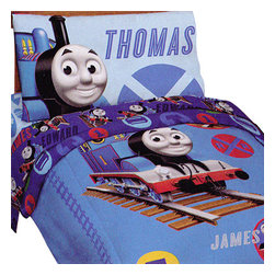 Jay Franco and Sons - Thomas Train Railroad Crossing Toddler Bedding Set - FEATURES: