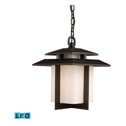"""Elk Lighting - Elk Lighting Kanso Outdoor Pendant Light with Hazlenut Bronze X-DEL-1/27124 - """"Embracing The Everyday, Unadorned Things In Life Is To Embrace Truth"""".  Rarely Has Any One Philosophy Had Such A Clear And Defined Impact On A Garden Style As The Indelible Mark Left By Zen On The Japanese Garden.  Kanso Is One Of The Six Basic Aesthetic Principals Embraced By Zen.  Simplistic Styling, A Key Tenet Of Zen, And Cleanliness Of Form Is A Repeated Motif In Japanese Architecture.  Constructed Of Cast Aluminum, This Series Features An Aged Bronze Finish With Contrasting White Glass.   - LED Offering Up To 800 Lumens (60 Watt Equivalent) With Full Range Dimming. Includes An Easily Replaceable LED Bulb (120V)."""