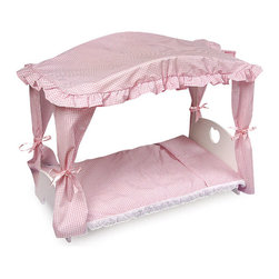 Badger Basket - Doll Canopy Bed - Pink Gingham Bedding - Canopy Doll Bed with Bedding by Badger Doll Furniture is a fancy canopy bed fit for a queen! Pretty pink gingham complements the attractive white finish. Fancy trim includes pink lace ties. Bed includes the mattress with attached pillow and canopy. Furniture fits dolls up to 20 in. . All paints and finishes are non-toxic and made with wood and wood composites. Illustrated instructions included. This item is a toy for use with dolls only. It is never to be used with real infants or pets. Not for children under 3 yrs.