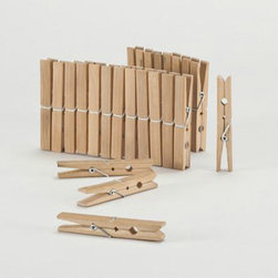 Bamboo Clothespins - Wooden clothespins are my go-to items for both form and function in my house. You can use them to clip photos to wires for display, to hold papers together stylishly in the kitchen or to store and close things in open bags.