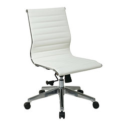 IFN Modern - Eames Armless Mid Back Office Chair in White - This chair offers many features such as locking tilt and tension tilt tension. This chair is available in white leather with a polished Aluminum base.