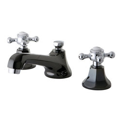 Kingston Brass - NS4467BX Water Onyx widespread lavatory faucet with brass pop-up drain - Add a touch of beauty to your bathroom with the unique look of this split finish faucet, Its primary Water Onyx's black nickel finish highlited with polished chrome accents- this faucet was originally inspired by an early 20th Century design and. The multi-faceted design of this faucet gives it a very masculine look that stands apart amongst other conventional faucets.