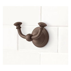 """Mercer Double Wall Hook, Antique Bronze finish - A change of hardware is an easy way to give your space a fresh new look. Our double hook is cast of brass that's been thickly plated to ensure a lasting finish.4"""" wide x 2.5"""" deep x 3"""" high View our {{link path='pages/popups/fb-bath.html' class='popup' width='480' height='300'}}Furniture Brochure{{/link}}."""