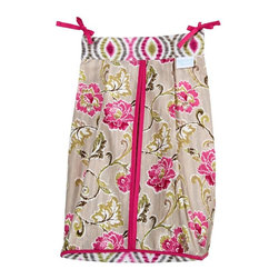 Trend Lab - Waverly Baby Jazzberry Diaper Stacker - 71023 - Shop for Diaper Stackers from Hayneedle.com! The Trend Lab Waverly Jazzberry Diaper Stacker keeps your diapers organized concealed and close at hand. For your convenience it holds up to three dozen diapers. The fabric features a beautiful floral print in marshmallow white carmine and cerise pink moss green Abbey stone and dune sand. The top and bottom have an intriguing optical pattern in coordinating colors. Durable pink ties attach the diaper stacker to your dresser changing table curtain rod or wherever you need it. Coordinating Jazzberry curtains nursery accessories and bedding are sold separately.About WaverlyWaverly launched in 1923 and grew to be a premier home fashion and all-encompassing lifestyle brand. They're now one of the most recognized names in home furnishings. With a signature look that's expertly translated into countless classic styles among home furnishing products their assortment includes wall coverings paint bedding window treatments decorative accessories and other key products.