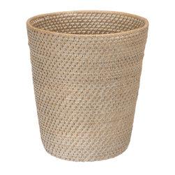 KOUBOO - Round Rattan Waste Basket, White Wash - Diameter 10.25 inches x 11 inches high.