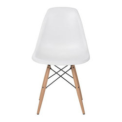 Inova Team -White Modern Dining Chair - Comfortable and durable modern dining chair, inspired by Eames.  Very sleek, modern, and contemporary.  Beautifully designed to enhance any perfect dining setting.