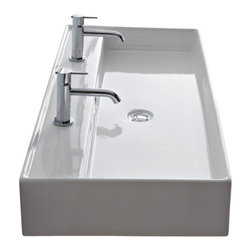 Scarabeo - Rectangular White Ceramic Wall Mounted or Vessel Sink, No Hole - Contemporary style rectangular white ceramic sink.  Sleek wall mounted or vessel sink with overflow.  Available with no hole, one hole, two hole, or three holes.  Made in Italy by Scarabeo. Depth of faucet ledge: 5.1 inch. Rectangular ceramic sink. Wall mounted or above counter with overflow. No hole, one hole, two hole, or three hole available. Faucets are 16 inches apart with  inch two hole inch  option. Note: technical specification picture is in millimeters. From the Scarabeo Teorema Collection. ADA compliant. Standard drain size of 1.25 inches. Because the sink has multiple installations, the back side is not glazed.