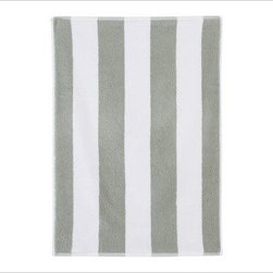 PB Classic Stripe 650-Gram Weight Jacquard Hand Towel, Gray Mist - Wide stripes adorn our PB Classic Stripe Bath Towels. At a hefty 650 grams, the absorbent Turkish terry towels are yarn dyed for exceptional softness. 650-gram weight. Combed cotton ensures long, uniform fibers. Plush, soft towels have superior loft and absorbency. Features pleated dobby trim. Hand and bath towels may be monogrammed. Coordinates with the Pottery Barn Classic Bath Collection. Machine wash. Oeko-Tex certified, the world's definitive certification for ecologically safe textiles. Made in Turkey. Catalog / Internet only.