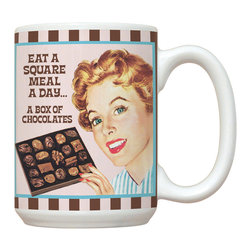 015-Eat A Square Meal Mug - 15 oz. Ceramic Mug. Dishwasher and microwave safe It has a large handle that's easy to hold.  Makes a great gift!
