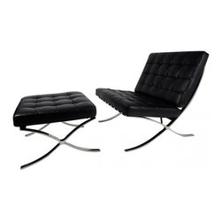 IFN Modern - Barcelona Chair and Ottoman-Black - Our Barcelona Chair reproduction was inspired by Mies Van Der Rohe's mid-century furniture. The main source of inspiration for this piece comes from the 1929 German Pavilion where Mies and Lilly Reich showcased a gorgeous chair now known worldwide as the Barcelona Chairâ— Available in Multiple Upholstery â— Available in Multiple-Colorsâ— The cushions are made of high density foamâ— Stainless steel frame is designed for stronger support and does not chip, and rustâ— Leather square panels are cut and sewn together individually for superior detail and qualityâ— Cushions are secured in place by heavy grade leather saddle strapâ— The seat cushion is cut at an angle to compliment the angle of the frame and provide a flush lookâ— Product size is true to the originalâ— Lock stitch method was used to ensure piping stays in placeâ— Bottom of seat cushion has a mesh cover to allow maximum airflow this allows the cushion to breathe better and also conserves the shape of the   cushion for a long lifetime useâ— Cushion features seamless corners like the original which gives a more luxurious look and feelâ— Cushion foam is wrapped in Dacron Synthetic Silk underneath the leather upholsteryâ— Leather support straps for the following Vintage leathers will use a similar but not identical shade for strap color: Auburn, Copper Brown and Almond