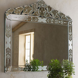 """""""Portinari"""" Venetian-Style Mirror - The """"Portinari"""" Venetian-Style Mirror with its beautifully engraved border and stunning etched pediment, is sure to become a favorite piece in any home.  This mirror would make a dramatic statement over a sideboard in a dining room or over a chest in an entry or bedroom."""