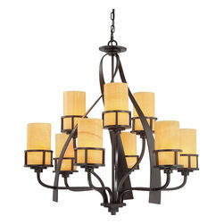 Quoizel - Quoizel KY5009IB Kyle Modern/Contemporary Chandelier - A rustic contemporary look that gives a dramatic flair to your home, this design serves as a piece of art in itself. It features gorgeous butterscotch onyx shades that emit a romantic glow, and sweeping wrought iron metal bands that add visual interest. Onyx is a mottled quartz that takes a high polish. As the favorite medium for Greek and Roman sculptors and architects, onyx has become a cultural symbol of tradition and refined taste.