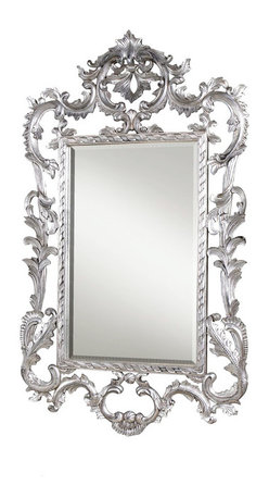 French Heritage - Louis XV Mirror, Silver Leaf - Hand carved beveled mirror - Weight: 57lbs