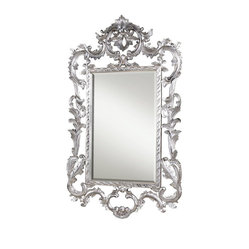 Louis XV Mirror, Silver Leaf Finish