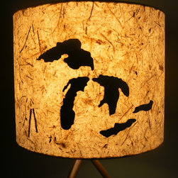 Paper Drum Lamp Shade, Great Lakes/ Michigan Outline - Diane Santhany