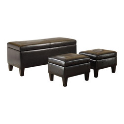 Coaster - Coaster 3 Piece Storage Bench and Ottoman in Faux Leather - Coaster - Ottomans - 501085 - Function meets fashion with this 3-piece storage bench and ottoman set. Wrapped with a durable dark brown leather-like vinyl, these pieces are sure to keep you comfortable. Each item has picture frame style stitching accents. These pieces ship in one box for added convenience