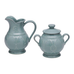 Casafina - Creamer & Sugar, Blue - The Meridian stoneware collection offers a wide variety of dinnerware items as well as serving pieces.