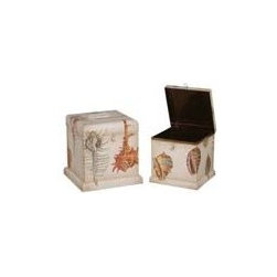SQUARE TIN BOXES - SQUARE TIN BOXES; Signature Antique White finish with hand-painted sea shells on tin boxes. Set/2
