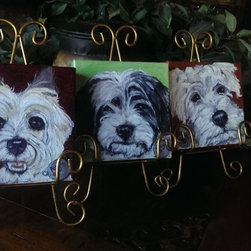 "6""x6"" Custom Pet Portraits - Custom Hand Painted Pet Portrait.  This 6""x6"" canvas is perfect for one cute face and can hang on a wall or stand on it's own on a shelf or table.  Photo by Josie Bloom"