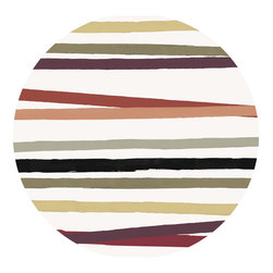 Huddleson - Cinta Striped Linen Tablecloth, Multicolor, 68 Round - The finest Italian natural linen tablecloth with a multicolor hand-painted stripe design.  This hand-painted stripe design recalls party ribbons laid across the table.
