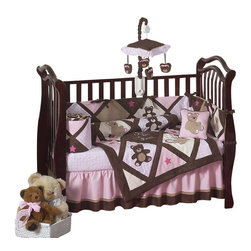 Sweet Jojo Designs - Teddy Bear Pink 9-Piece Crib Bedding Set by Sweet Jojo Designs - The baby bedding by Sweet Jojo Designs includes: comforter, bumper, dust ruffle, fitted sheet, toy bag, pillow, diaper stacker and 2 window valances.