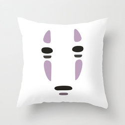 No-Face Pillow Cover - The films of Studio Ghibli have a way of filling us with childlike wonder at any age. Celebrate your love for Spirited Away in your home with this exclusively designed poplin pillow cover featuring No-Face's memorable mask. Whether it's for the kids or especially for you, we know it will bring a smile to your face.