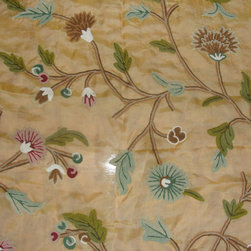 Crewel Fabric World by MDS - Crewel Fabric Winter Time Hay Gold Silk Organza- Yardage - Artisans in a remote mountain village in Kashmir crewel stitch these blossoms, vines and leaves by hand, resulting in a lush pattern of richly shaded wool yarns on Linen, Cotton, Velvet and Silk.