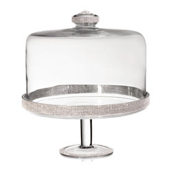 """Alan Lee Collection - Princess Collection 11""""X12"""" Cake Stand With Dome - This beautiful cake stand and dome is created from brilliant lead free glass. Hand applied cut crystals adorn both the top and base creating a dazzling display. It's 11"""" x 12"""" diameter makes it large enough for most cakes."""