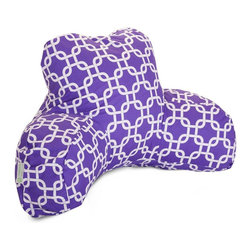 Purple Links Reading Pillow - Now you can kick back and relax anywhere with this comfortable and supportive Reading Pillow. Best Pillow Shoppe Purple Links Reading Pillow provides back and head support that is perfect for many activities such as reading, watching TV or playing video games. Stuffed with a super loft recycled polyester fiber fill, the reading pillows zippered slipcover is woven from poly/cotton twill and zips off for easy cleaning.
